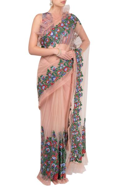 Sarees, Sarees, Clothing, Carma, Salmon pink embroidered saree with blouse ,  ,