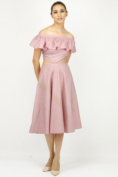 Dresses, Clothing, Carma, Rouge pink ruffled neckline tie-up off shoulder dress ,