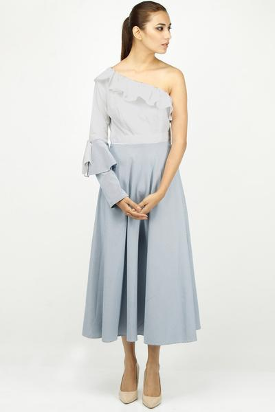 Dresses, Clothing, Carma, White and blue twin bell sleeve one shoulder midi dress ,