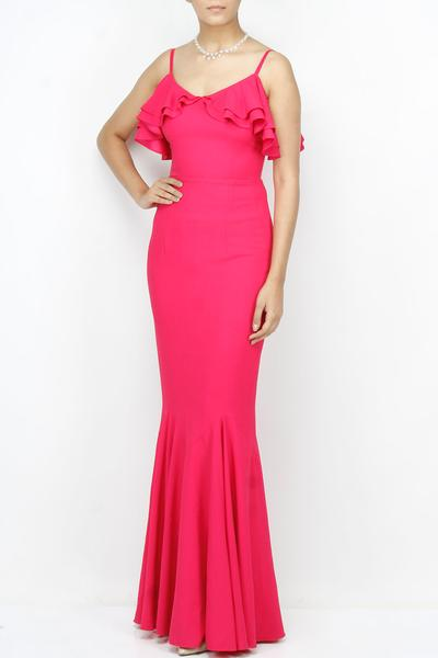 Gowns, Clothing, Carma, Hot pink frill strap gown ,
