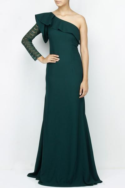 Gowns, Clothing, Carma, Teal one shoulder chantilly lace gown ,