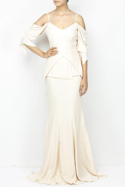 Gowns, Clothing, Carma, Ivory cold shoulder pleated gown ,