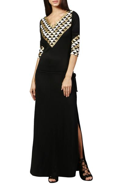 Dresses, Clothing, Carma, Black Abstract Pattern Maxi Dress ,  ,  ,