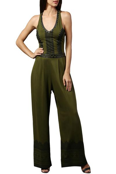 Jumpsuits, Clothing, Carma, Olive Contrast Pattern Jumpsuit ,  ,  ,