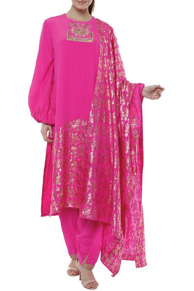 Suits, Clothing, Carma, Pink embroidered kurta and salwar suit ,  ,  ,