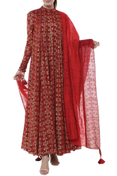 Suits, Clothing, Carma, Red printed anarkali suit ,  ,  ,