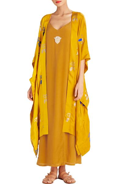 Dresses, Clothing, Carma, Ochre Slip Dress With Printed Cape Jacket ,  ,  ,