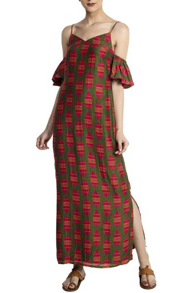 Dresses, Clothing, Carma, Olive Printed Maxi Dress ,  ,