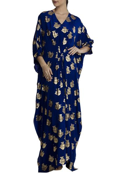 Dresses, Clothing, Carma, Blue fish pattern kaftan maxi dress ,  ,  ,