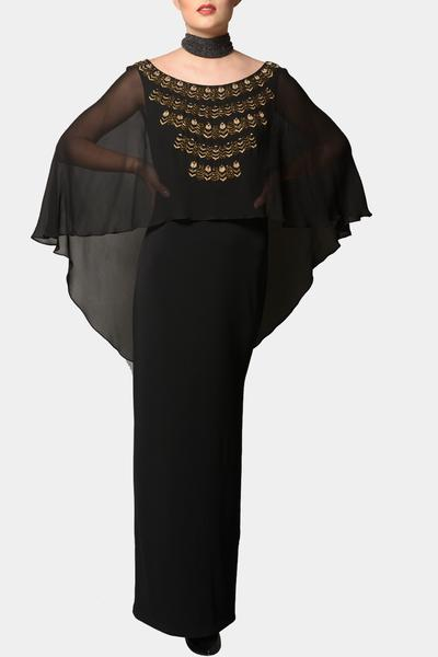 Gowns, Clothing, Carma, Black asymmetric cape gown ,  ,