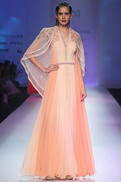 Gowns, Clothing, Carma, Peach pleated dress with cape
