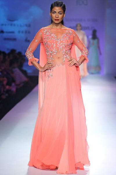 Sarees, Sarees, Clothing, Carma, Coral ombre paneled draped gown ,