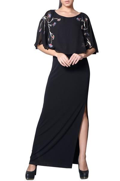 Gowns, Clothing, Carma, Black embroidered cape gown ,  ,