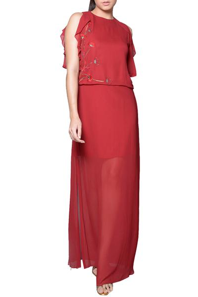 Dresses, Clothing, Carma, Red embroidered maxi dress ,  ,