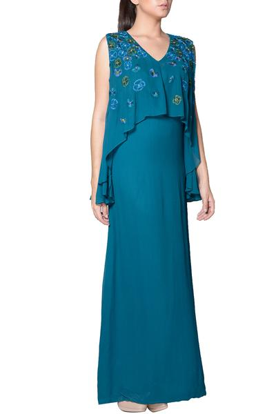 Gowns, Clothing, Carma, Teal thread embroidered cape gown ,  ,