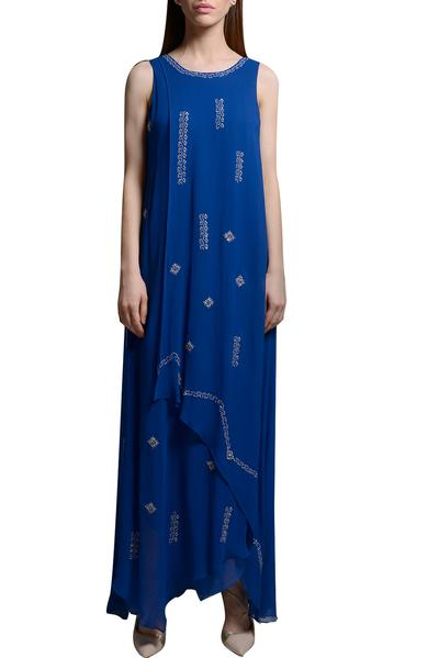 Dresses, Clothing, Carma, Royal blue embroidered layered maxi dress ,  ,  ,