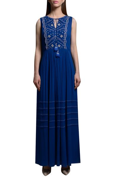 Dresses, Clothing, Carma, Royal blue embroidered maxi dress ,  ,  ,