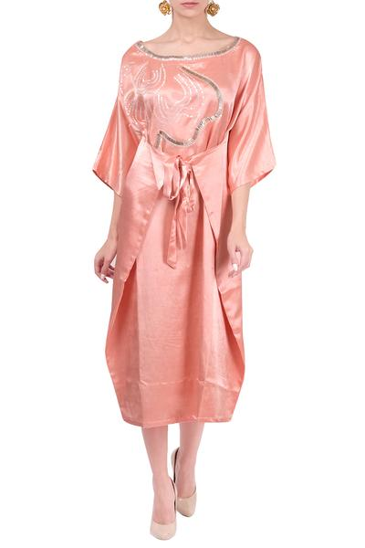 Dresses, Clothing, Carma, Peach overlap tie up dress ,  ,  ,