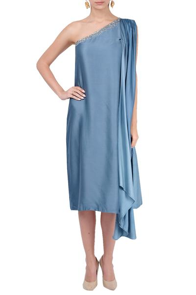Dresses, Clothing, Carma, Blue one shoulder dress ,  ,  ,