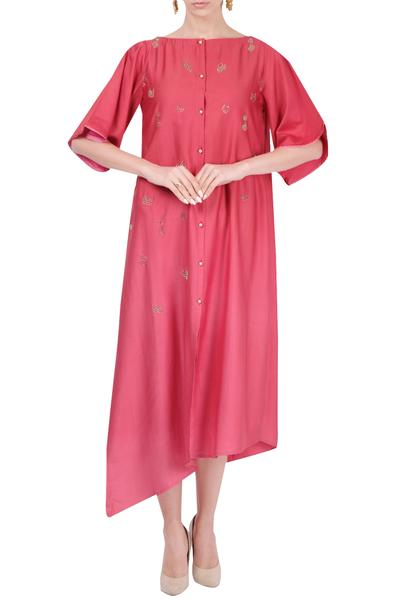 Dresses, Clothing, Carma, Pastel red embroidered tunic ,  ,  ,