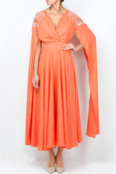 Dresses, Clothing, Carma, Coral draped oversize sleeved dress ,  ,