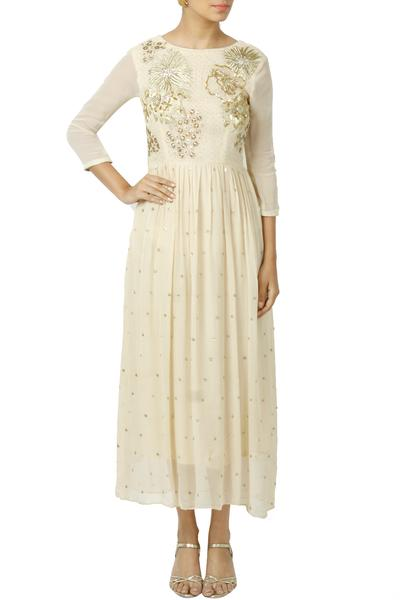 Dresses, Clothing, Carma, Beige Embroidered And Embellished Maxi Dress ,  ,  ,