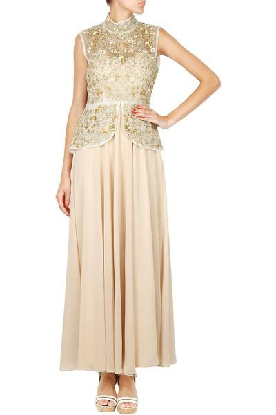 Gowns, Clothing, Carma, Embellished organza top with bisque off shoulder gown ,