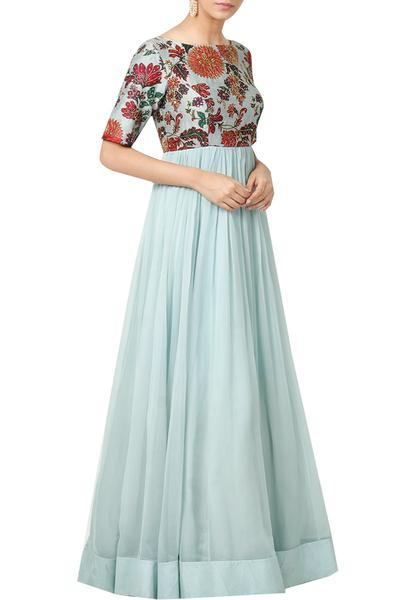 Gowns, Clothing, Carma, Ice Blue Printed And Embellished Gown ,  ,  ,