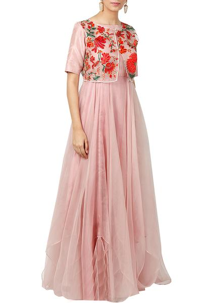 Gowns, Clothing, Carma, Soft Pink Gown With Embroidered Jacket ,  ,  ,