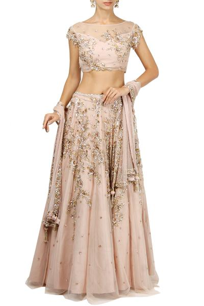 Lehengas, Clothing, Carma, Pale pink embroidered lehenga set ,  ,