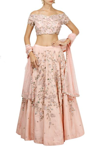 Lehengas, Clothing, Carma, Rose pink embroidered lehenga set ,  ,