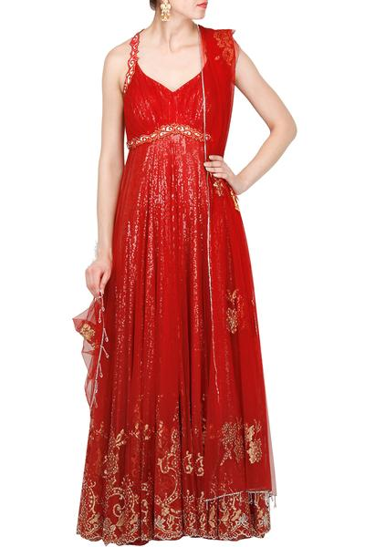 Suits, Clothing, Carma, Red fully sequined floral lace halter neck layered anarkali ,  ,