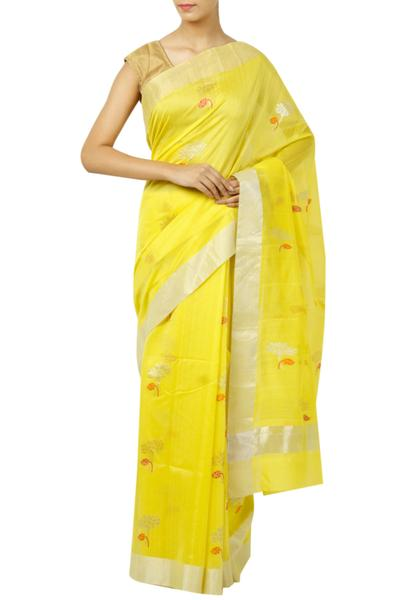 Sarees, Sarees, Clothing, Carma, Yellow zari motif saree ,  ,  ,