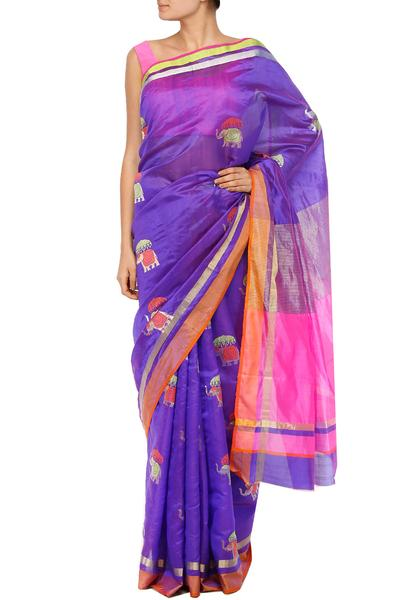 Sarees, Sarees, Clothing, Carma, Purple handwoven saree with elephant bootis ,  ,