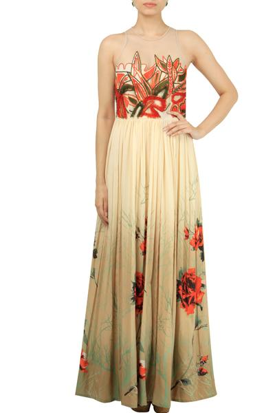Dresses, Clothing, Carma, Beige Embroidered Maxi Dress ,  ,