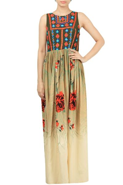 Dresses, Clothing, Carma, Multicolor Printed Embroidered Maxi Dress ,  ,