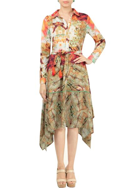 Dresses, Clothing, Carma, Multicolor Printed Collar Dress ,  ,