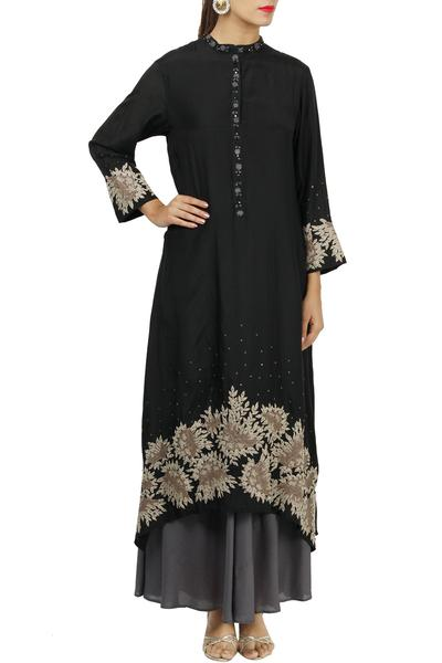 Dresses, Clothing, Carma, Black and grey layered embroidered tunic ,  ,  ,