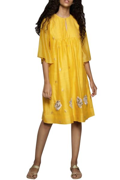Dresses, Clothing, Carma, Yellow embroidered dress