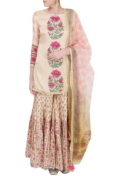 Suits, Clothing, Carma, Peach printed sharara suit ,  ,  ,
