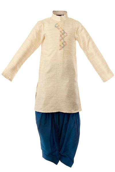 Boys, Kids, Carma, Beige kurta with draped pants