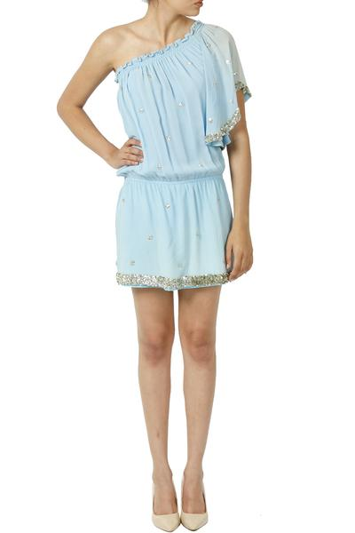 Dresses, Clothing, Carma, Powder Blue Sequin Embellished One Shoulder Dress ,  ,  ,