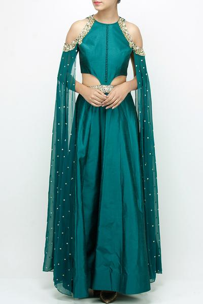 Gowns, Clothing, Carma, Bottle green cut out cape gown ,  ,  ,