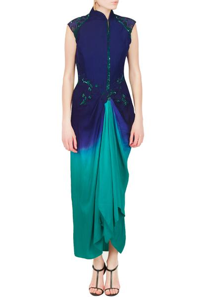 Dresses, Clothing, Carma, Royal blue teal ombre shaded Dhoti Dress ,