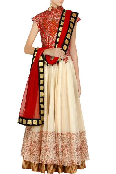Suits, Clothing, Carma, Red and beige swarovski studded hand painted anarkali set ,