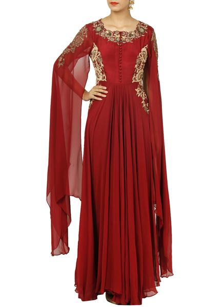 Gowns, Clothing, Carma, Maroon embroidered cape gown ,  ,  ,