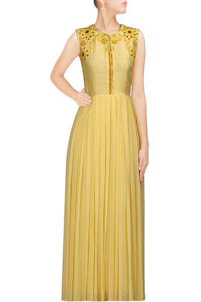 Gowns, Clothing, Carma, Yellow mirror work maxi ,