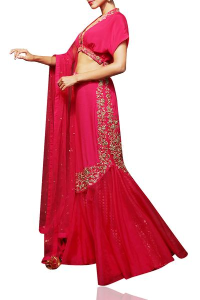 Lehengas, Clothing, Carma, Rani pink embroidered skirt set ,  ,  ,