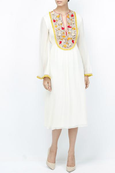 Dresses, Clothing, Carma, White embroidered yoke dress ,