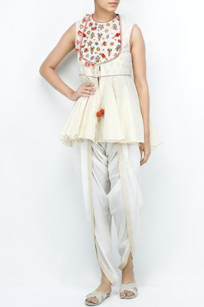 Kurtas and Sets, Clothing, Carma, Ivory box pleat top with dhoti pants